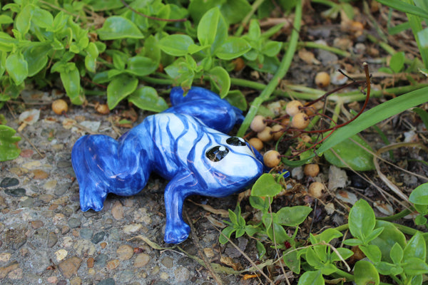 Miss Bleu Frog - Ceramic Frog Hand Painted In Spain
