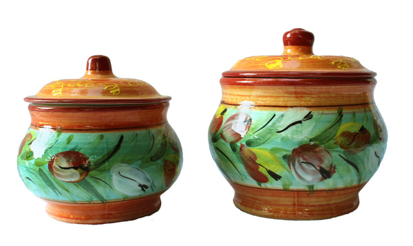 Storage Jar - 1 Quart - Hand Painted in Spain - Tulip Design