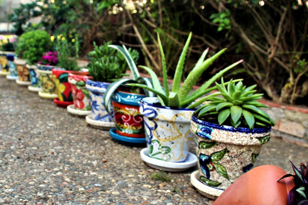 Buy ceramic flower pots online - Spanish pots with Mexican designs