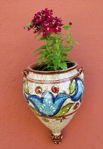 Wall Planter - Spanish Orza (Brown Design) - Hand Painted in Spain