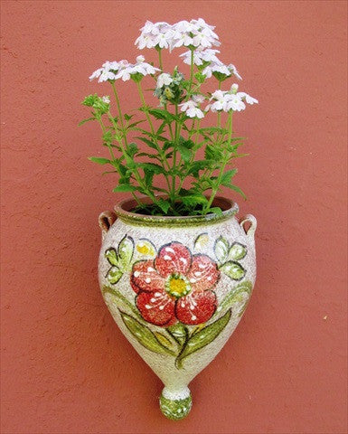Wall Planter - Spanish Orza (Green Design) - Hand Painted in Spain