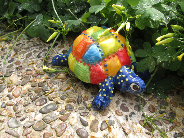 Mr. Patch Turtle - Ceramic Turtle Hand Painted In Spain