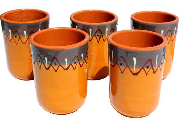 Rawhide Terracotta Cups, Set of 5 - Hand Painted From Spain