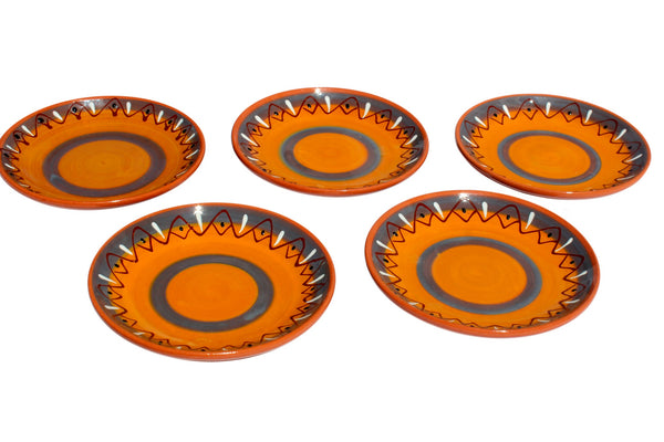 Rawhide Terracotta Tapa Plates Set of 5 - Hand Painted From Spain