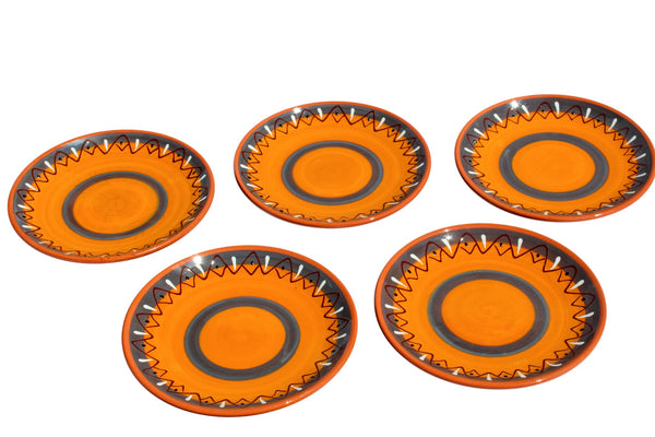 Rawhide Terracotta Salad Plates, Set of 5 - Hand Painted From Spain