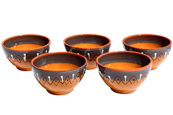 Rawhide Salsa Bowl Set of 5 - Hand Painted From Spain