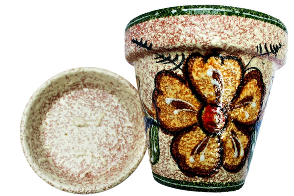Spanish garden planter and saucer - Mexican pottery