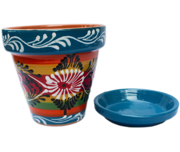 Flower pot and saucer hand painted in Spain
