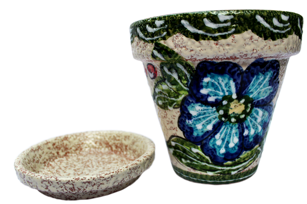 Spanish Garden Pot and Saucer - Green Design