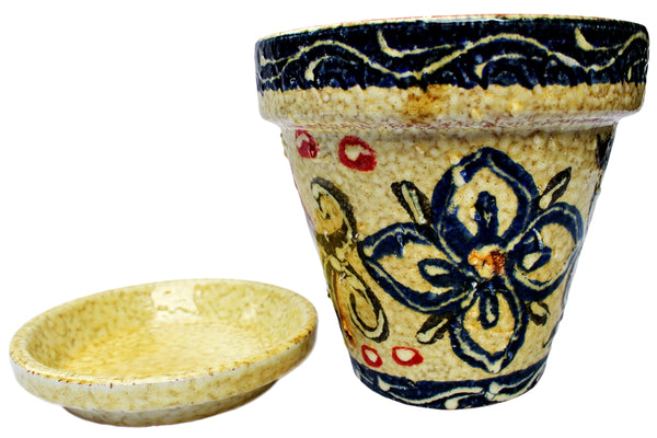 Spanish talavera garden pot and saucer