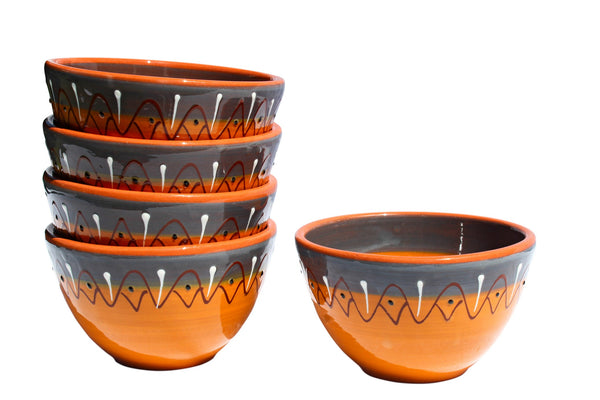 Rawhide Terracotta Breakfast Bowls, Set of 5 - Hand Painted From Spain