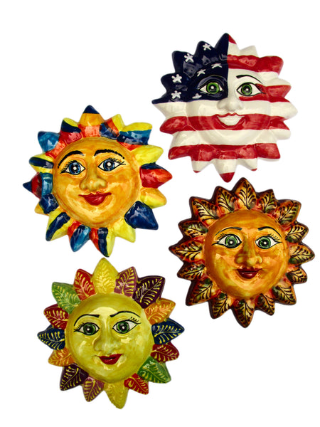 Mr. 4th of July Sun! - Ceramic Sun Hand Painted In Spain