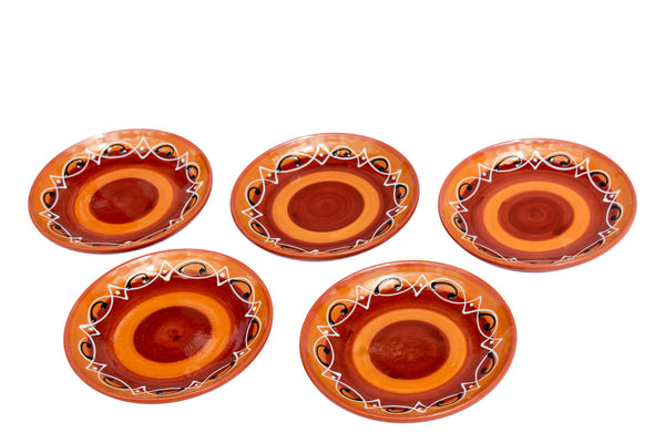 Spanish Sunset Terracotta Tapa Plates Set of 5 - Hand Painted From Spain
