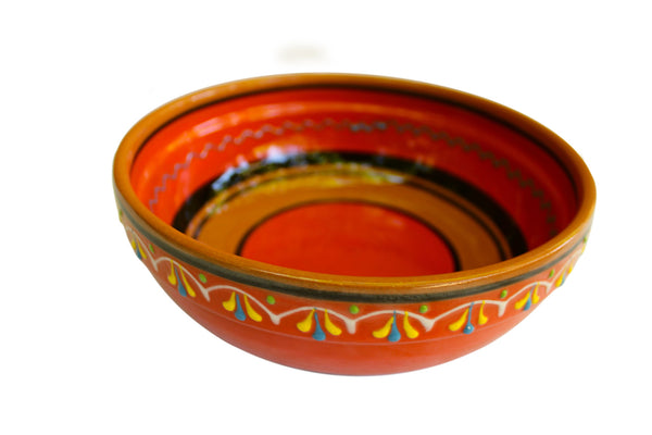 Terracotta Orange, Deep Serving Dish - Hand Painted From Spain