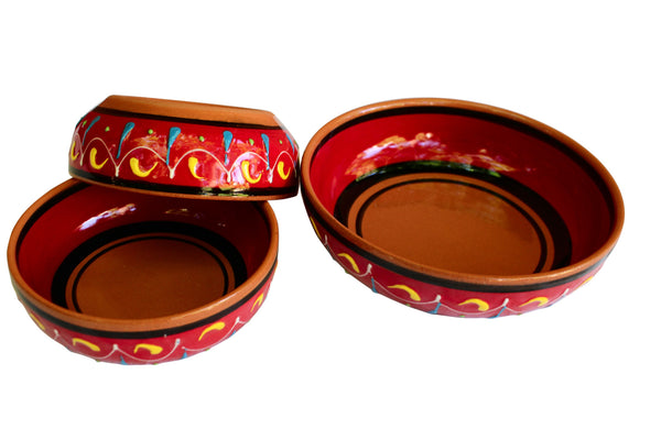 Terracotta Red - Festive Set - Hand Painted From Spain