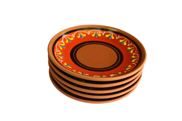 Terracotta Tapa Plates Set of 5 - Hand Painted From Spain