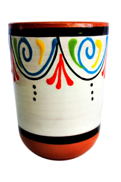 Terracotta White Cups, Set of 5 - Hand Painted From Spain