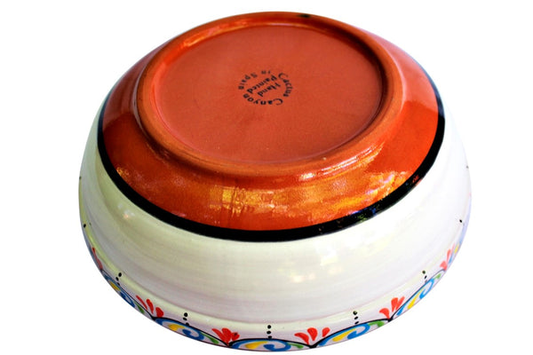 Terracotta White, Deep Serving Dish - Hand Painted From Spain