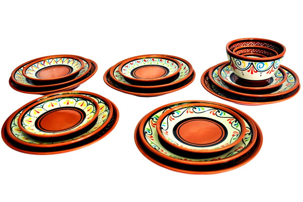 Terracotta White, Small Dinner Plates Set of 5 (European Size) - Hand Painted From Spain