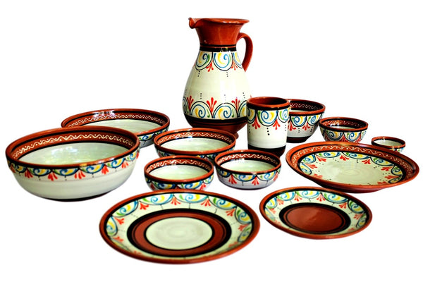 Terracotta White Tapa Plates Set of 5 - Hand Painted From Spain