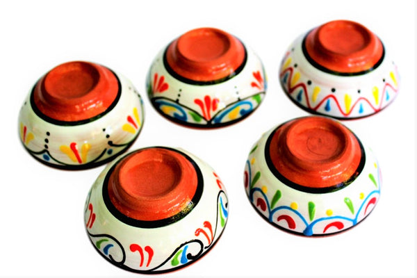Terracotta White Mini-bowl Set of 5 - Hand Painted From Spain