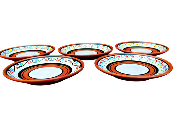 Terracotta White Salad Plates, Set of 5 - Hand Painted From Spain