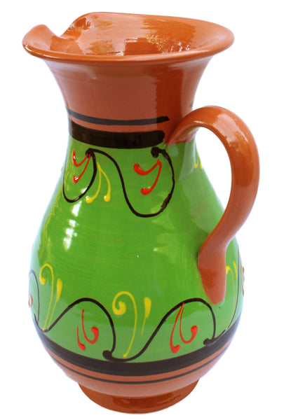 Terracotta Green, 2 Quart Pitcher - Hand Painted From Spain