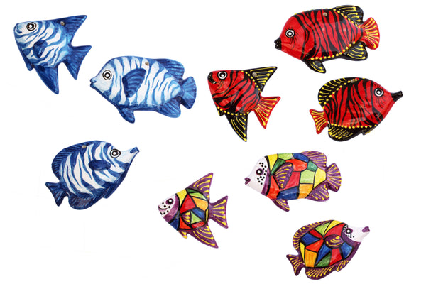 Ceramic Fish Wall Hangers - Set of 3 Shapes (Tahiti Red) - Hand Painted From Spain