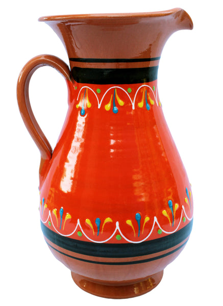 Terracotta Orange, 2 Quart Pitcher - Hand Painted From Spain