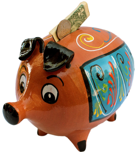 Pedro the Pig - Terracotta Piggy Bank Hand Painted in Spain