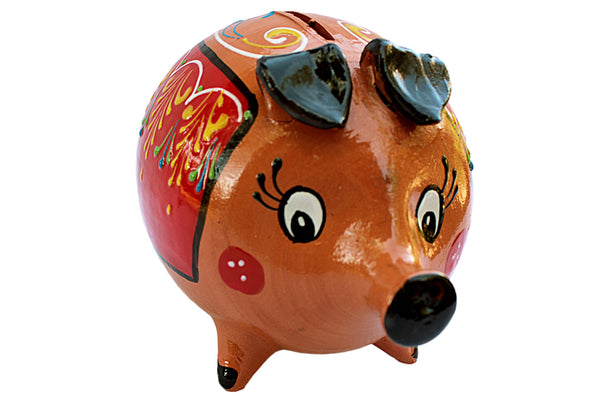 Dolores the Piggette - Terracotta Piggy Bank Hand Painted in Spain
