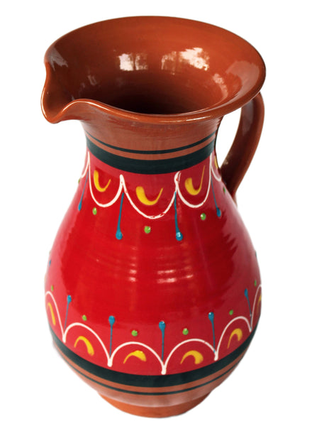 Terracotta Red, 2 Quart Pitcher - Hand Painted From Spain
