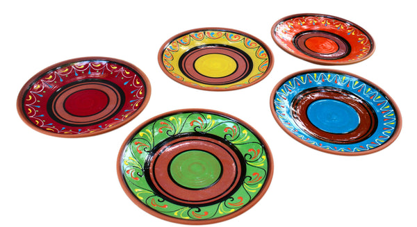 Terracotta Small Dinner Plates Set of 5 (European Size) - Hand Painted From Spain