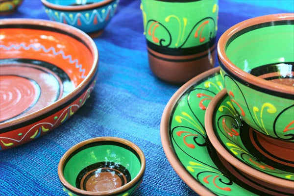 Terracotta Breakfast Bowls, Set of 5 - Hand Painted From Spain