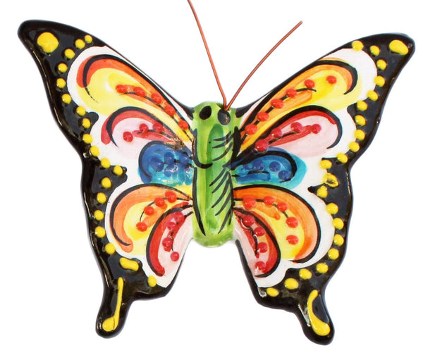 Set of 4 Small Ceramic Butterfly Wall Hangers (Tropical Colors) - Hand Painted From Spain