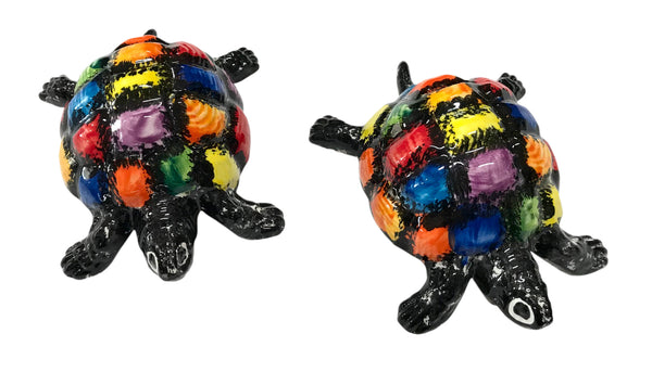 Mr. Checkers Turtle - Ceramic Turtle Hand Painted In Spain