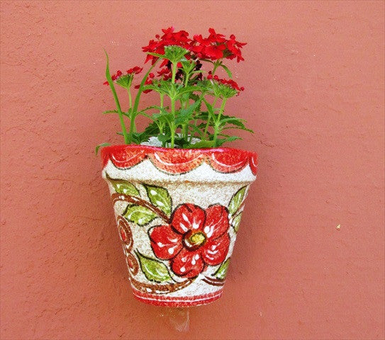 Wall Hanging Flower Pot (Red Design) - Hand Painted in Spain