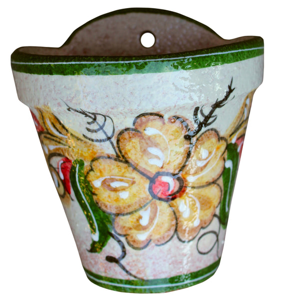 Wall Hanging Flower Pot (Spanish Gold) - Hand Painted in Spain