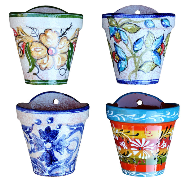 Wall Hanging Flower Pot (Spanish Blue) - Hand Painted in Spain