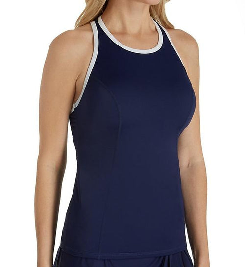 Tommy Bahama Womens High Neck Active Racerback Tankini Top (Mare Navy)