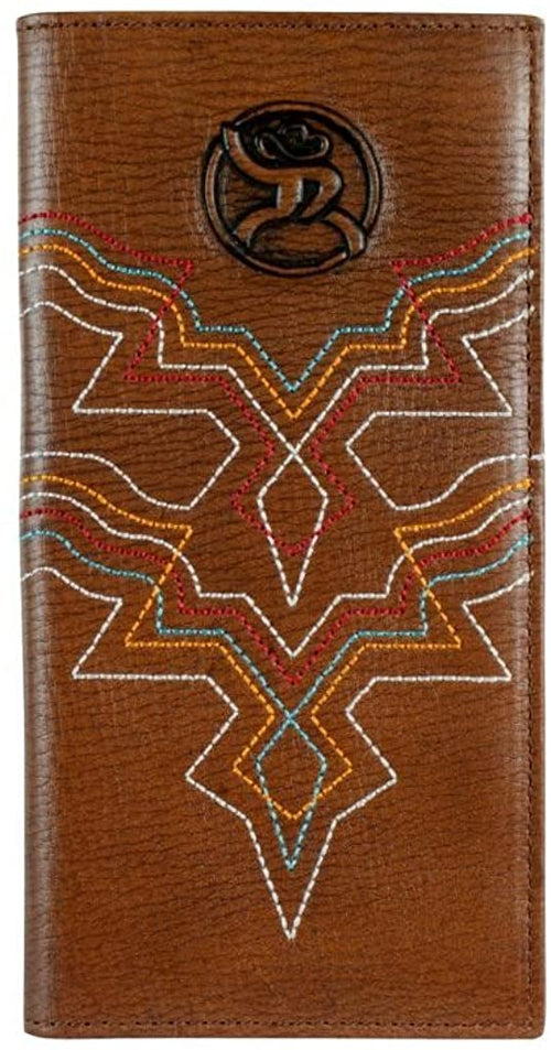 Hooey Mens Roughy Signature Leather Rodeo Checkbook Wallet , Brown /Multi-Color