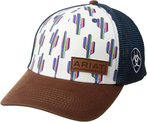 Ariat Womens Cactus Print Adjustable Snapback Hat (White/Blue, One Size)