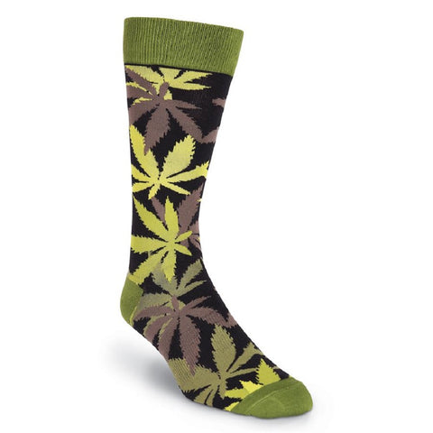 K. Bell Mens Pot Luck Green Fun Crew Socks
