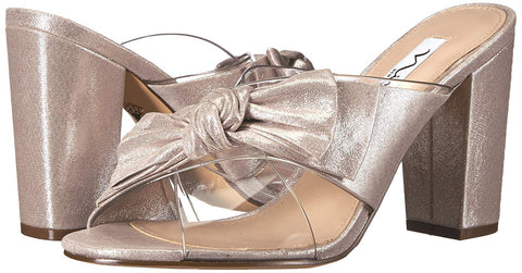 Nina Womens Samina Bow Slip-On Evening Mules (Clear Vinyl/New Silver, 6.5M)