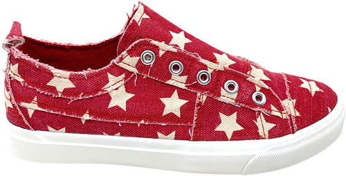 Corkys Womens Babalu Casual Slip On Fashion Sneaker, Red Stars