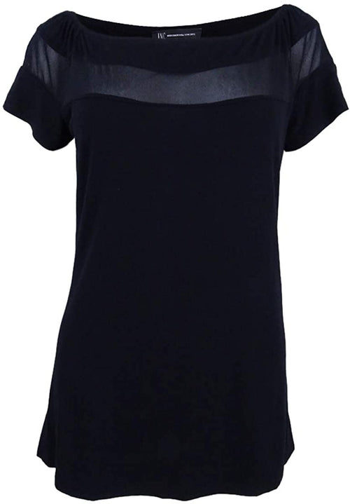 INC Womens Illusion Short Sleeve Off Shoulder Tee-Shirt (Black, Medium)