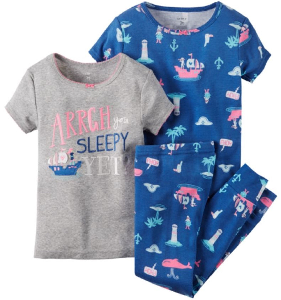 6, 07 Carters Little Girls 3 Piece Cotton Pajama Sleepwear Set Arrgh You Sleepy