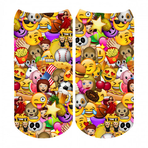Sublime Designs Adult Fun Printed No Show Socks- Allover Emojis