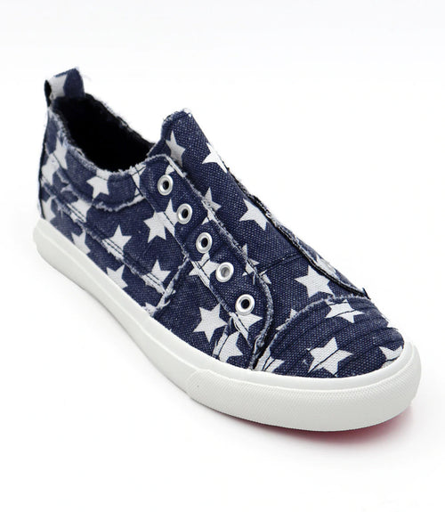 Corkys Womens Babalu Casual Slip On Fashion Sneaker, Navy Stars