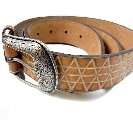 Hooey Mens Triangle Overlay Western Leather Belt (Dark Brown,38)